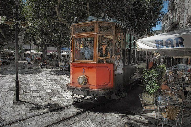 испания, майорка, соллер, город, улица, площадь, трамвай, лето, солнце, романов Tram time # 3photo preview