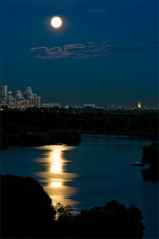 ночной, город, москва, луна, лунная, дорожка, река, отражение ночные зарисовкиphoto preview
