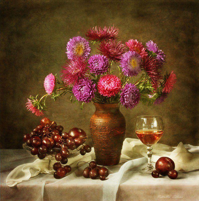 цветы , астры, фрукты С астрамиphoto preview