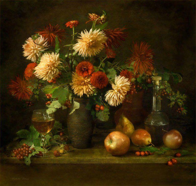 цветы , фрукты С георгинамиphoto preview
