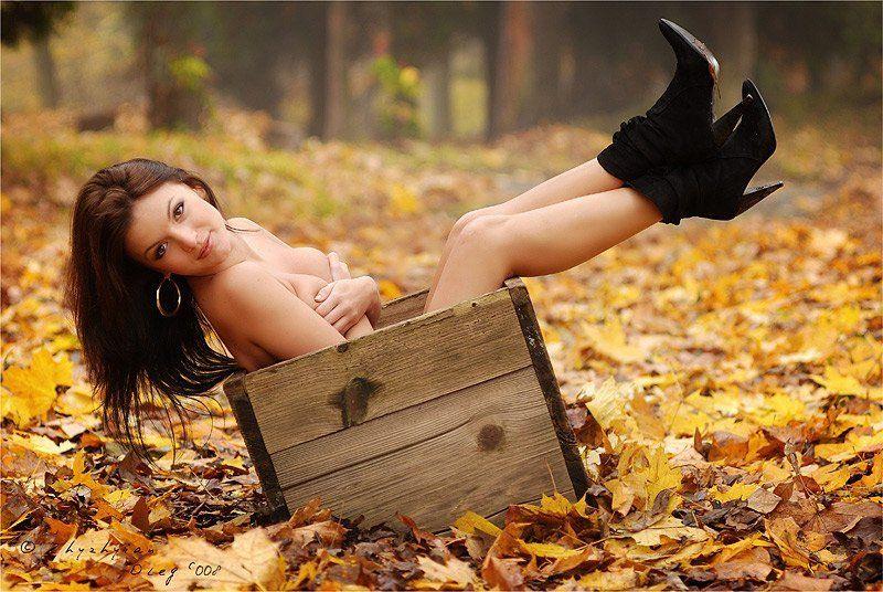жена, ящик, осень, листья, гламур, глаза, ноги, сапожки, взгляд, портрет, нежность, сентябрь, октябрь, нояберь \