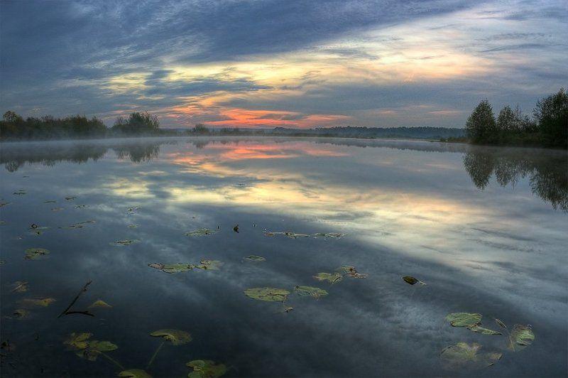 рассвет, озеро, пейзаж встречая новый деньphoto preview