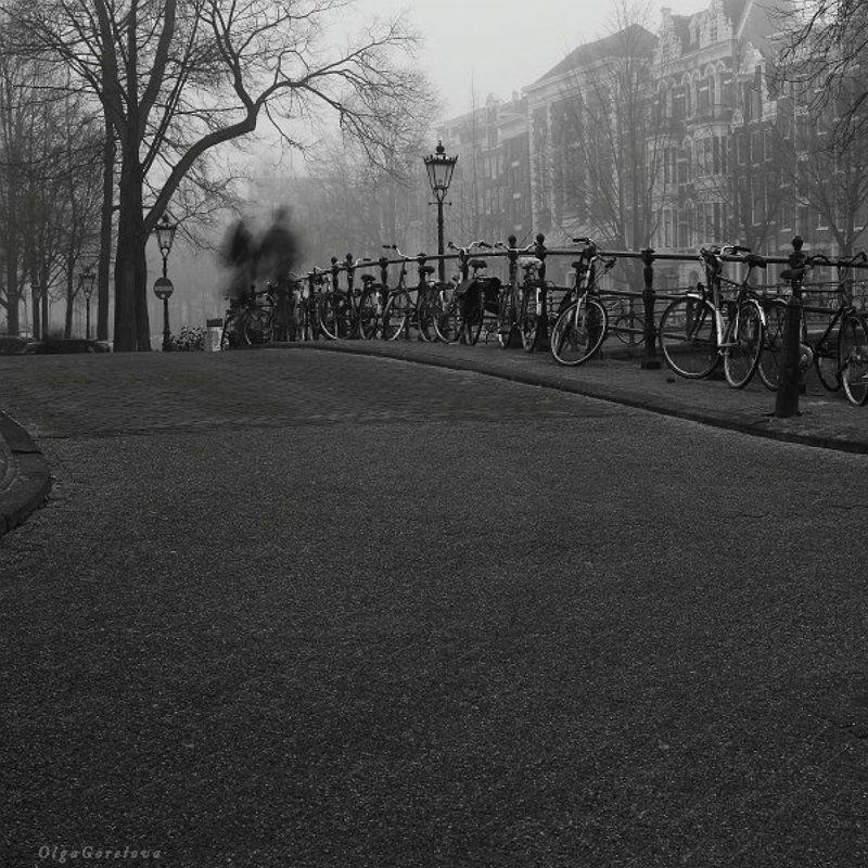 амстердам, город, фото, чб, голландия двое в городеphoto preview