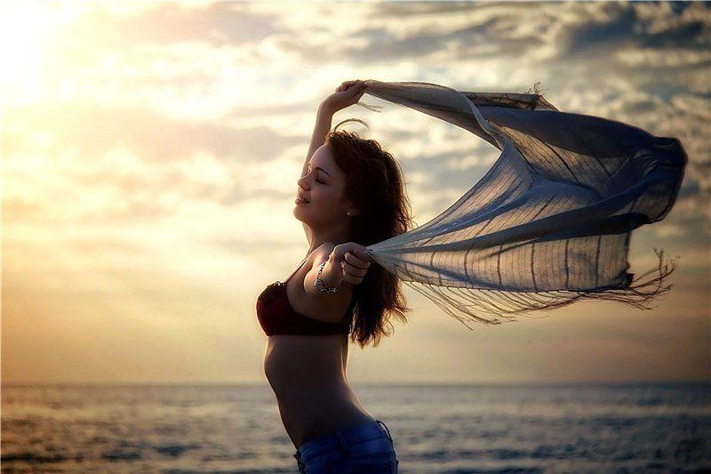 портрет, девушка, море, пляж ***photo preview