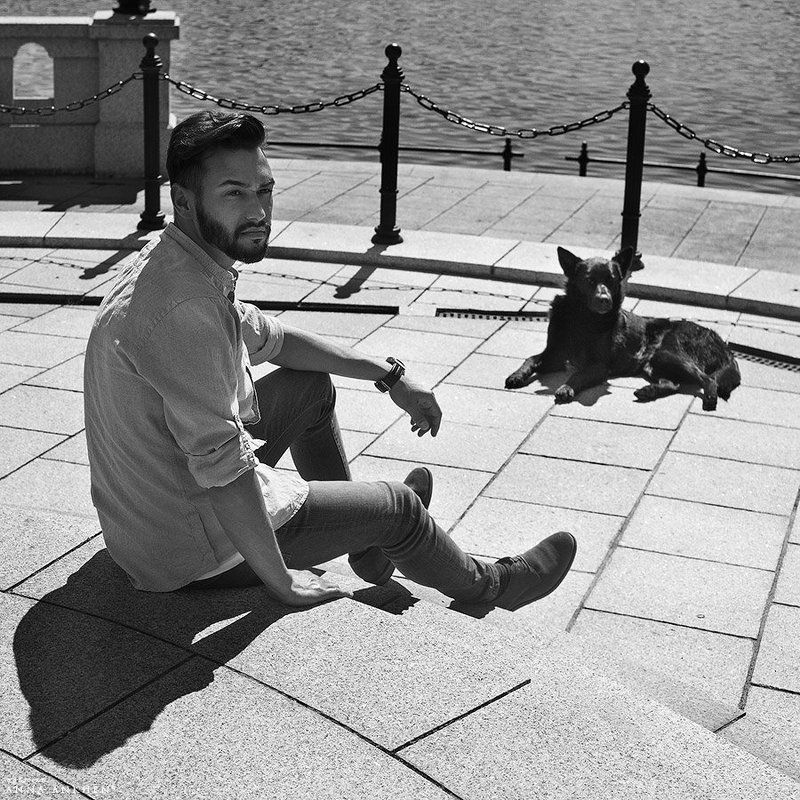 портрет, мужской портрет, чб, plenair, классика, мужчина, bw, man, пленер, portrait, classic, black dog, чёрная собака Чёрная собакаphoto preview