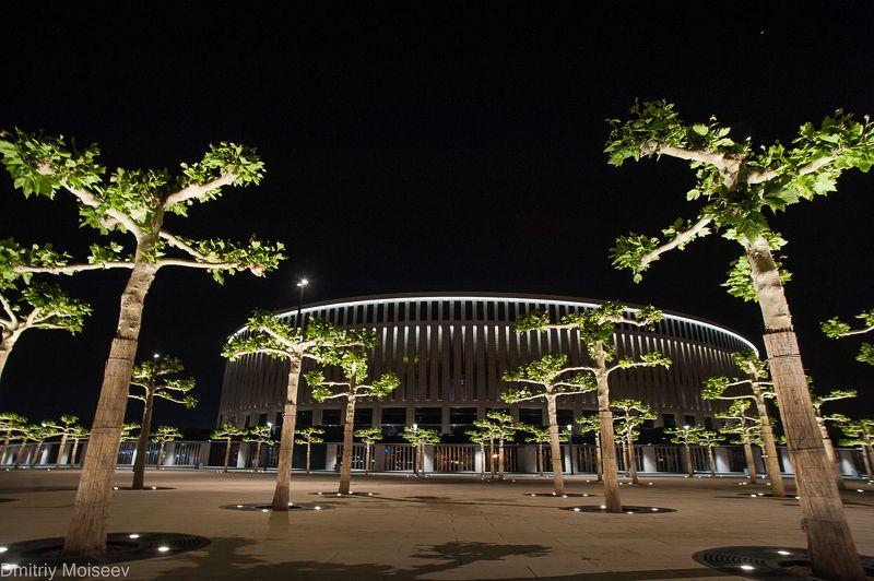 стадион, ночь, архитектура, деревья, ночь, лето, Краснодар, красота  стадион \