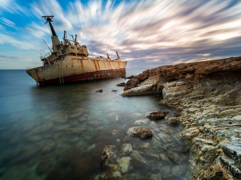 shipwreck, Cyprus, Edro, seascape, sunset, moving cloud EDRO IIIphoto preview