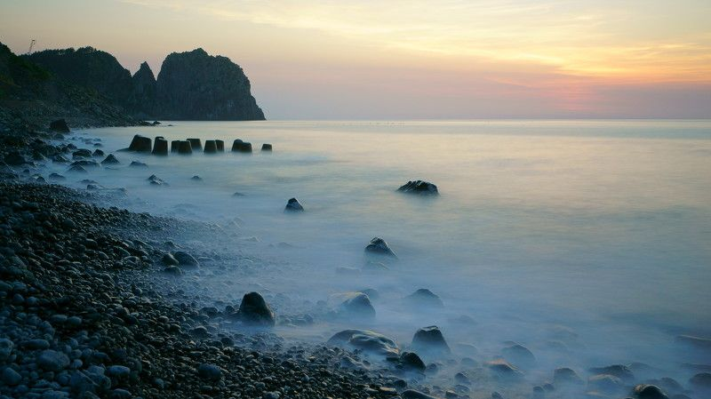 south korea,island,ulleungdo,sunset,summer,sea,seascape,seashore,sun,horizontal, After the sunsetphoto preview