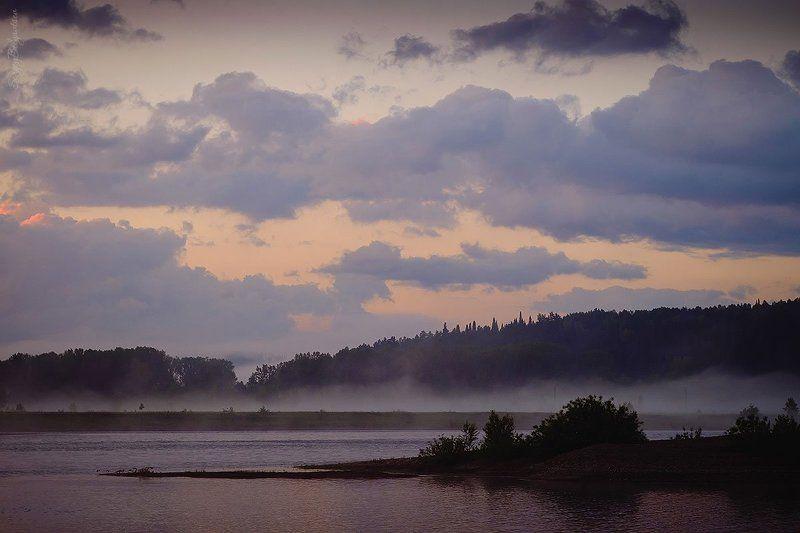 река, томь, лес, тайга, рябь, волна, закат, небо, облака, тучи, туман, горы, берег, камни, Fujifilm X-M1, МС Юпитер-37А * * *photo preview