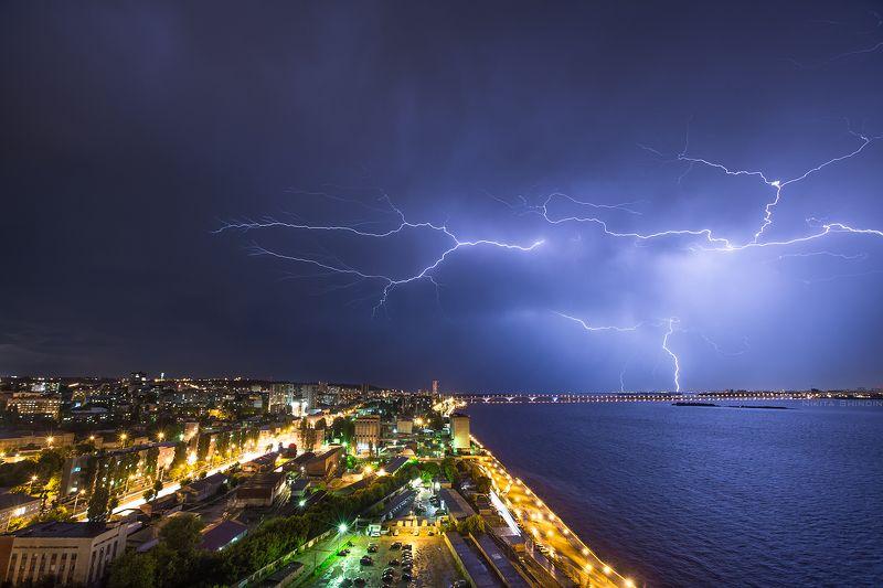 саратов, саратовский, мост, волга, буря, гроза, молния Буря на Волгеphoto preview