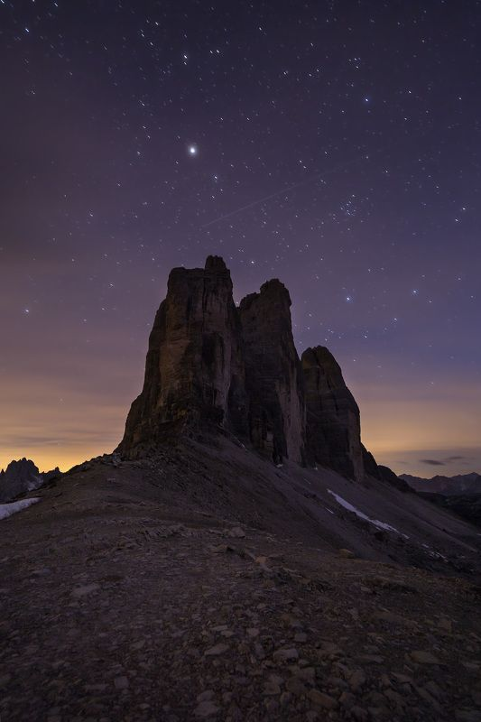night, dolomites, tre cime, rock Moon stationphoto preview