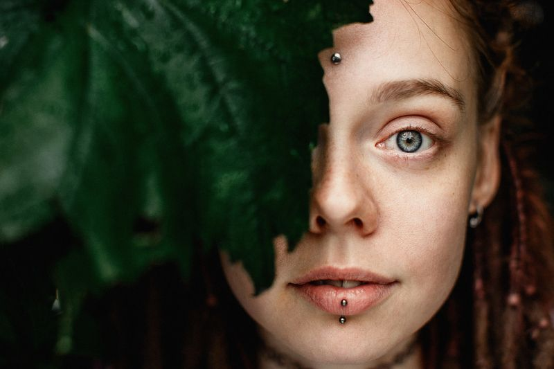 портрет лицо зелень глаза арт ...photo preview
