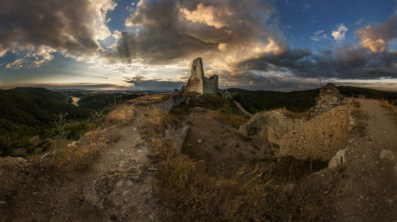bathory, castle, ruins evening, sun, clouds, sunset, cachtice, slovakia, europe Castle ruinsphoto preview