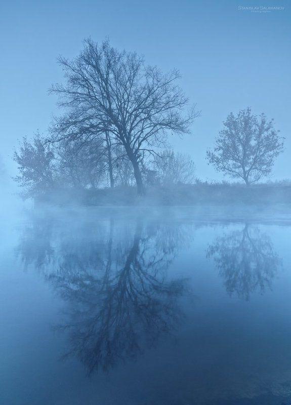 утро, сумерки, река, туман, дымка, синева, рассвет Предрассветная синеваphoto preview