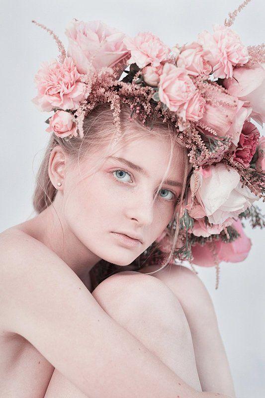 венок, цветы, синий, голубой, девушка, студия, портрет, розовый photo preview
