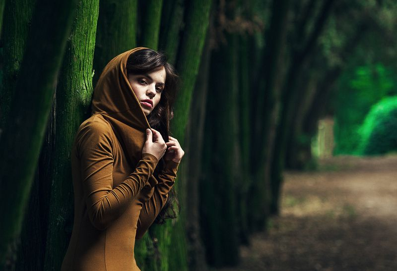 девушка, портрет, фото девушки, девушка в листве, взгляд девушки Alinaphoto preview