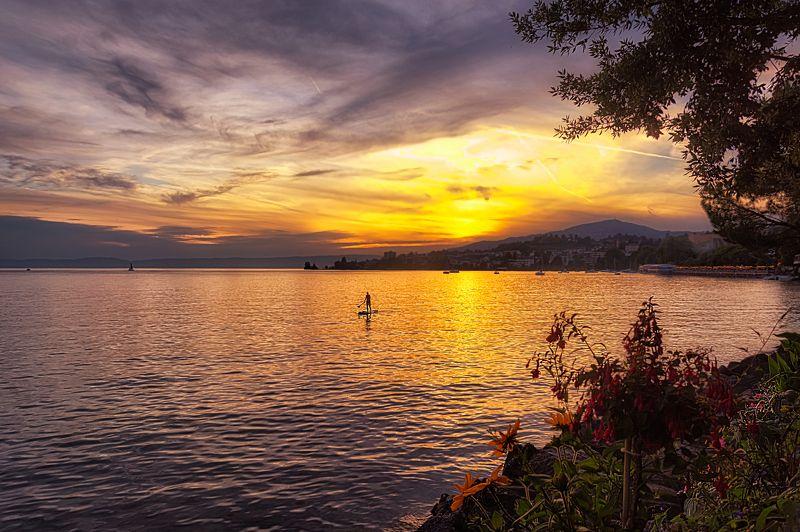 швейцария, озеро, женевское озеро, закат, леман, lac léman, swiss, монтрё, montreux, Вечера на женевском озереphoto preview