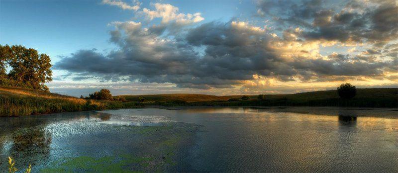 панорама, пейзаж, пруд, облака, закат photo preview