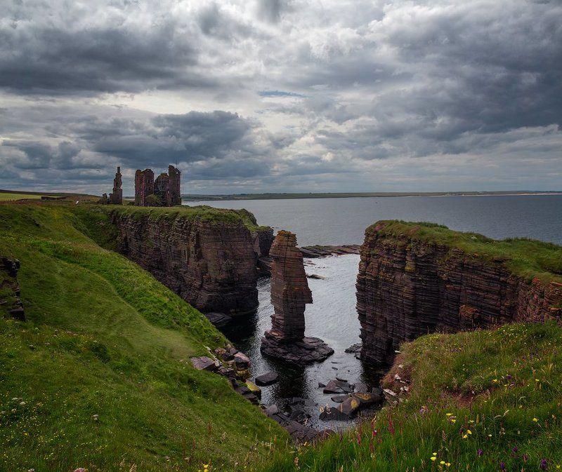 пейзаж, руины, старый замок, шотландия Руины замка Sinclair Girnigoephoto preview