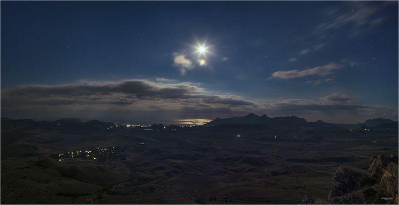 крым, ночь, ночной, пезаж, панорама, полнолуние, луна, ночное, небо, звездное, небо, звезды, горы, пейзаж, длиная, выдержка ...photo preview