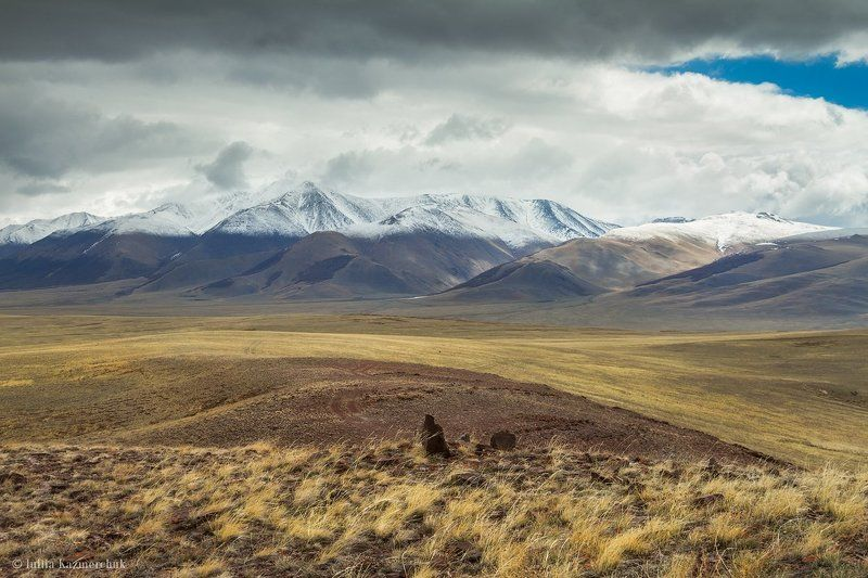 landscape, scenic, nature, travel, outdoor, view, tourism, steppe, spring, mountain, snow, sky, high, grass, altai Сайлюгемские этюды (3)photo preview