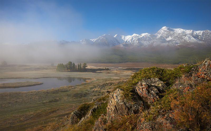 алтай, северо-чуйский хребет, урочище ештыкель, болото, туман, утро, куркурек, биш-иирду Утренний Ештыкельphoto preview