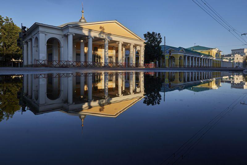 город, рассвет, Ярославль, улица, архитектура, отражение  Ярославль photo preview