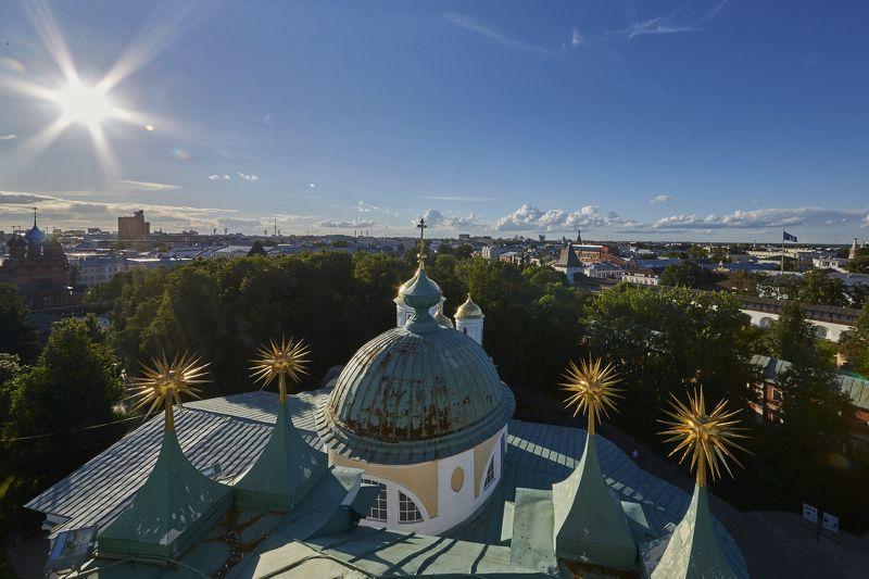 город, пейзаж, небо, красота, храм, свет, купол, архитектура  Ярославль с высоты photo preview