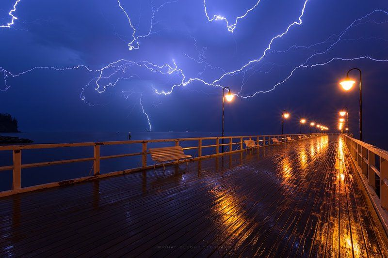 gdynia, poland, thunderstorm, storm, lightning, pier, night,  Flashphoto preview