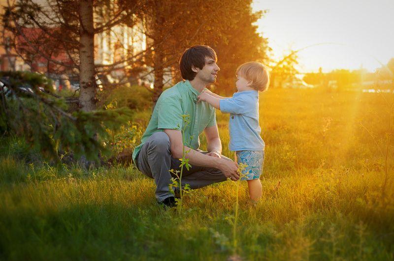 семья, портрет, ребенок, малыш, вечер, естественный свет, вечер, лето С отцомphoto preview
