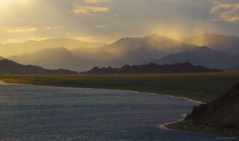 монголия, толбо-нуур, закат, вечер, озеро Вечер на озере Толбо-Нуурphoto preview