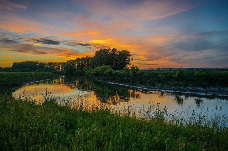 лето, закат, свияга Река Свияга...photo preview