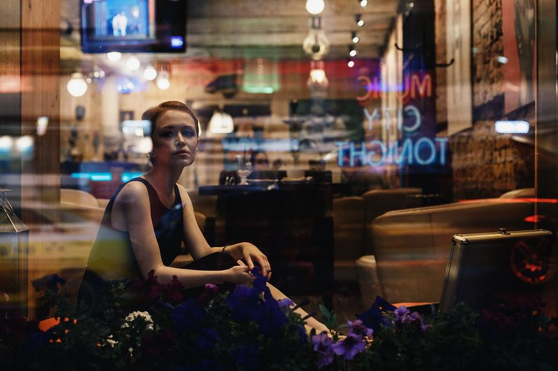girl,cafe,street,city,night,mood,light,neon,car,reflection,beauty Summer night cityphoto preview