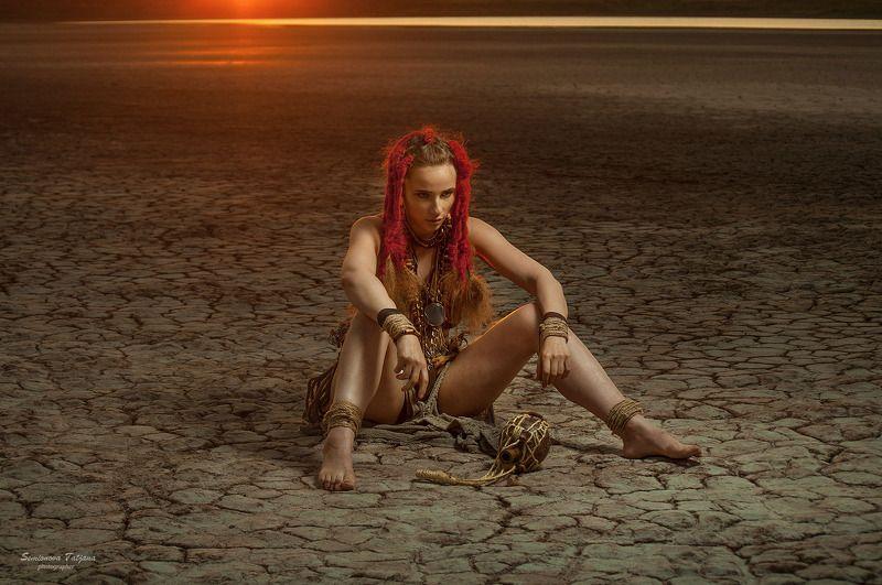 племя, африка, жара, закат, красные волосы  африка photo preview