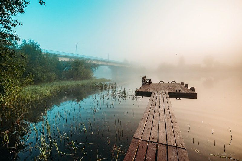 утро, рассвет, туман, солнце, вода, мост, лучи, красота, лето photo preview