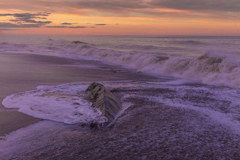 сахалин, охотское море, побережье, отлив, закат Каменный хребетphoto preview