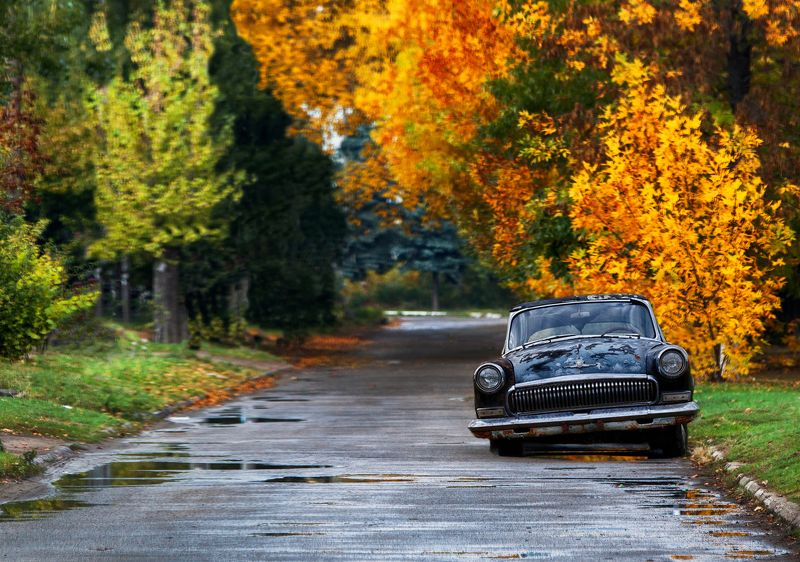 авто, город, осень, дождь, листья Рожденный в СССРphoto preview