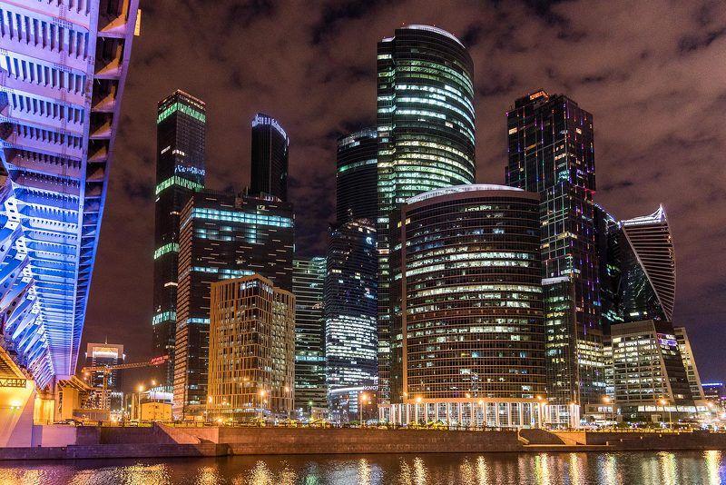 Москва, Москва-сити, Moscow city, ночь, мост, река, свет, огни, город Огни ночного городаphoto preview