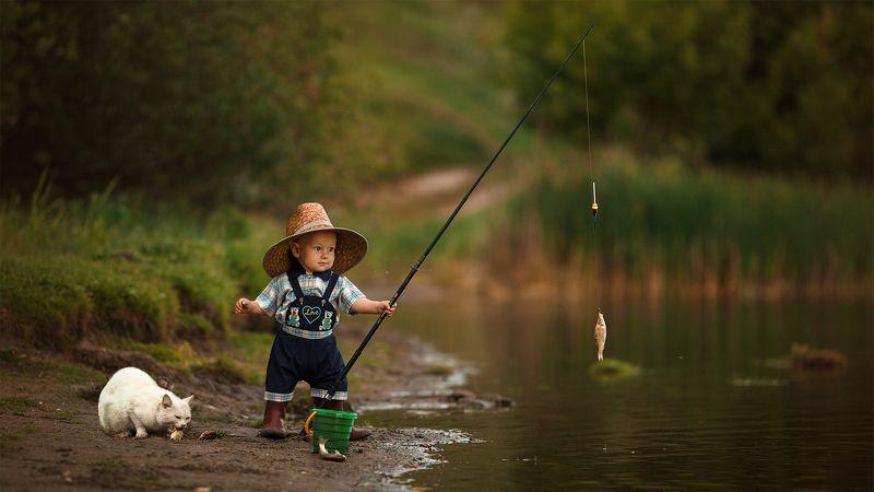fisher child little boy summer cat ребенок мальчик рыбак лето кот Ребенок-Рыбакphoto preview