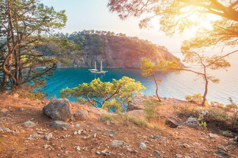 пейзаж, горы, море, океан, корабль, природа, лодки, корабль, бухта, залив, рассвет, камни, пляж, деревья В заливеphoto preview