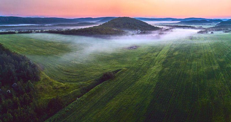 пейзаж, природа, кольский полуостров, мурманская область, поле, туман, сопки ***photo preview