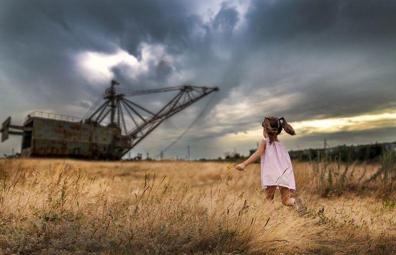 лето, трава, облака, небо, Техногенез Техногенезphoto preview