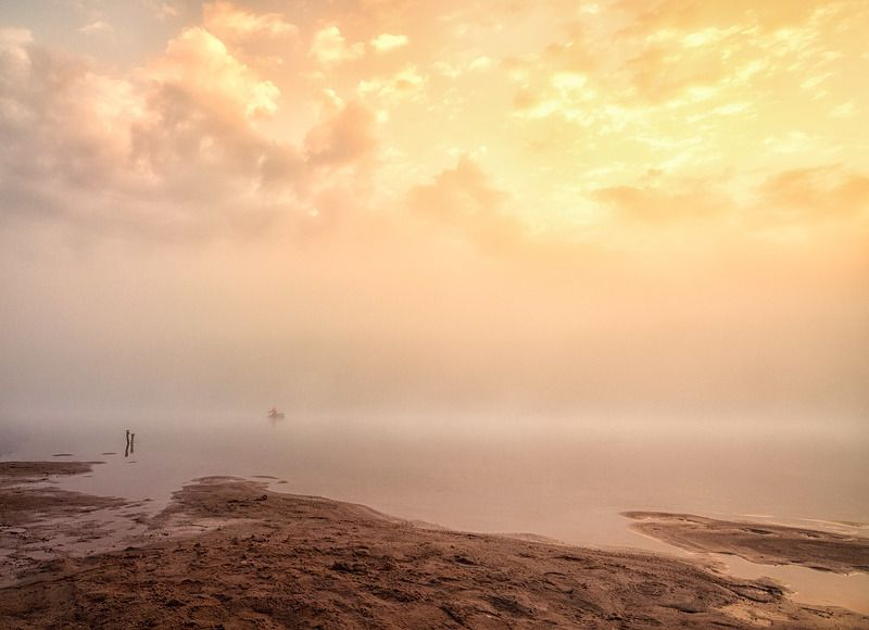 туман, река, восход, облака, лето, отражение Эпизод 2 Одинокий рыбак.photo preview