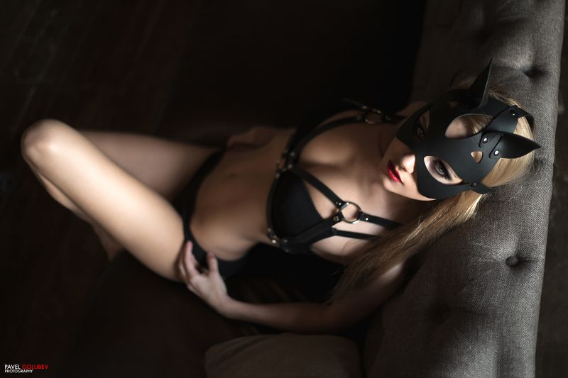 golubevphoto, sexy, lingerie, belts, cat, girl, skin, leather, model Cat-womanphoto preview