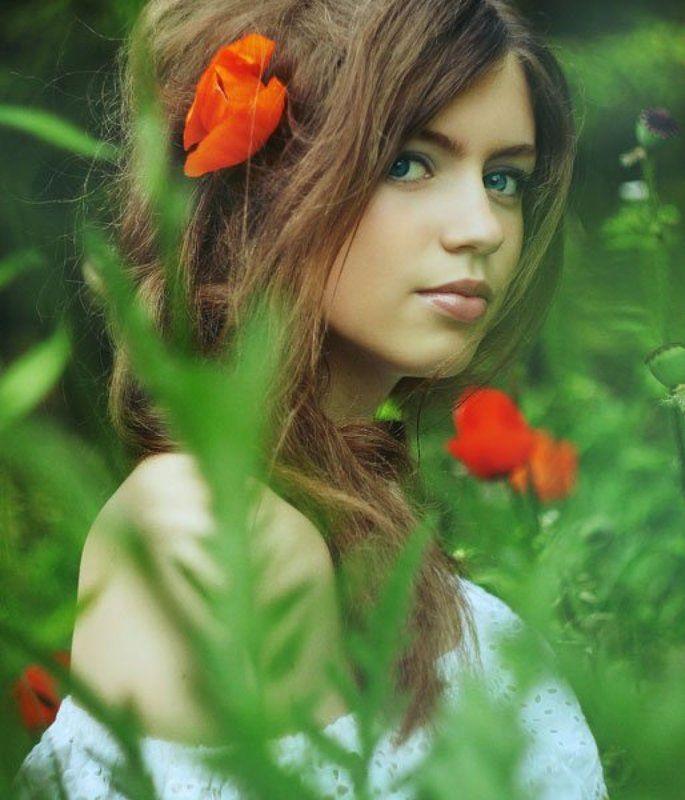 summer, girl, девушка, лето, маки, портрет ...photo preview