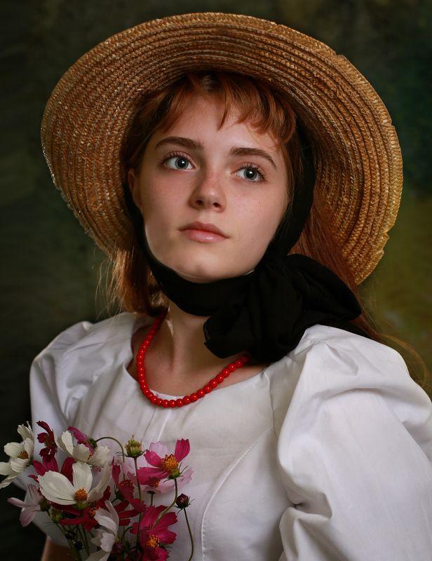 девушка портрет цветы шляпа по мотивам Девушка в шляпеphoto preview