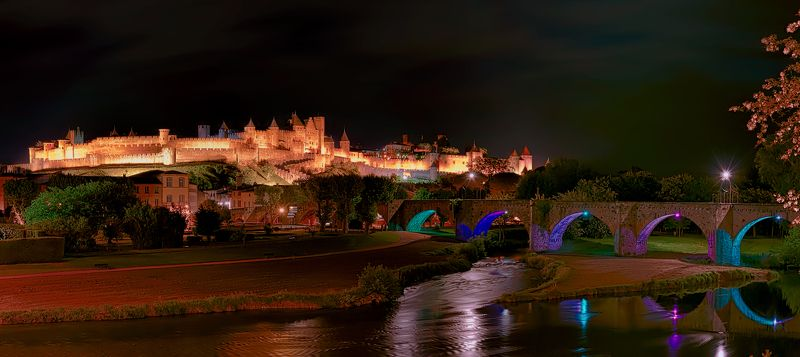 carcassonne, france, old fortress, каркасон , франция, старая крепость, город-крепость Night Carcassonnephoto preview
