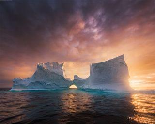 Midnight sun in Greenland