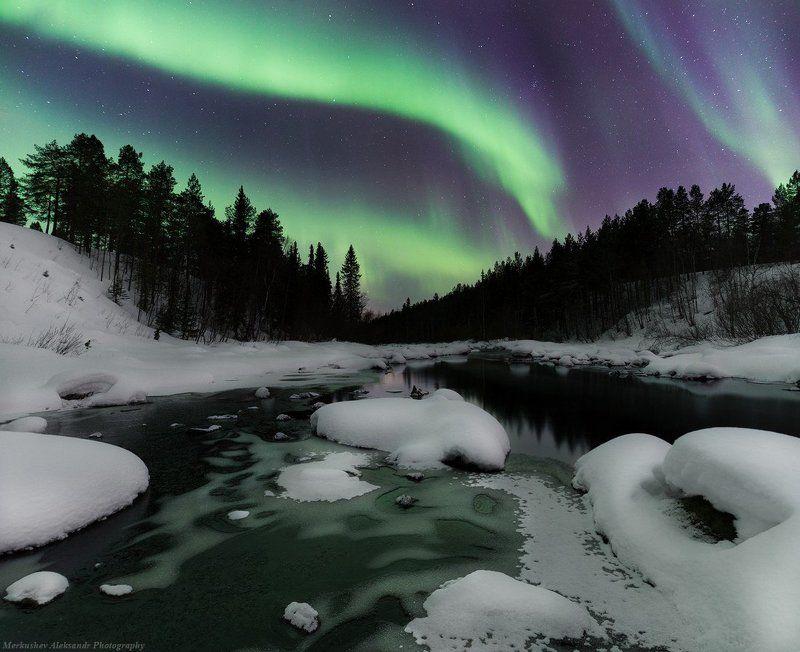 заполярье, северное сияние, ночь ***photo preview
