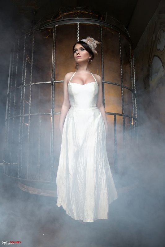 golubevphoto, girl, dress, cage, smoke, colors,beautiful Cagephoto preview